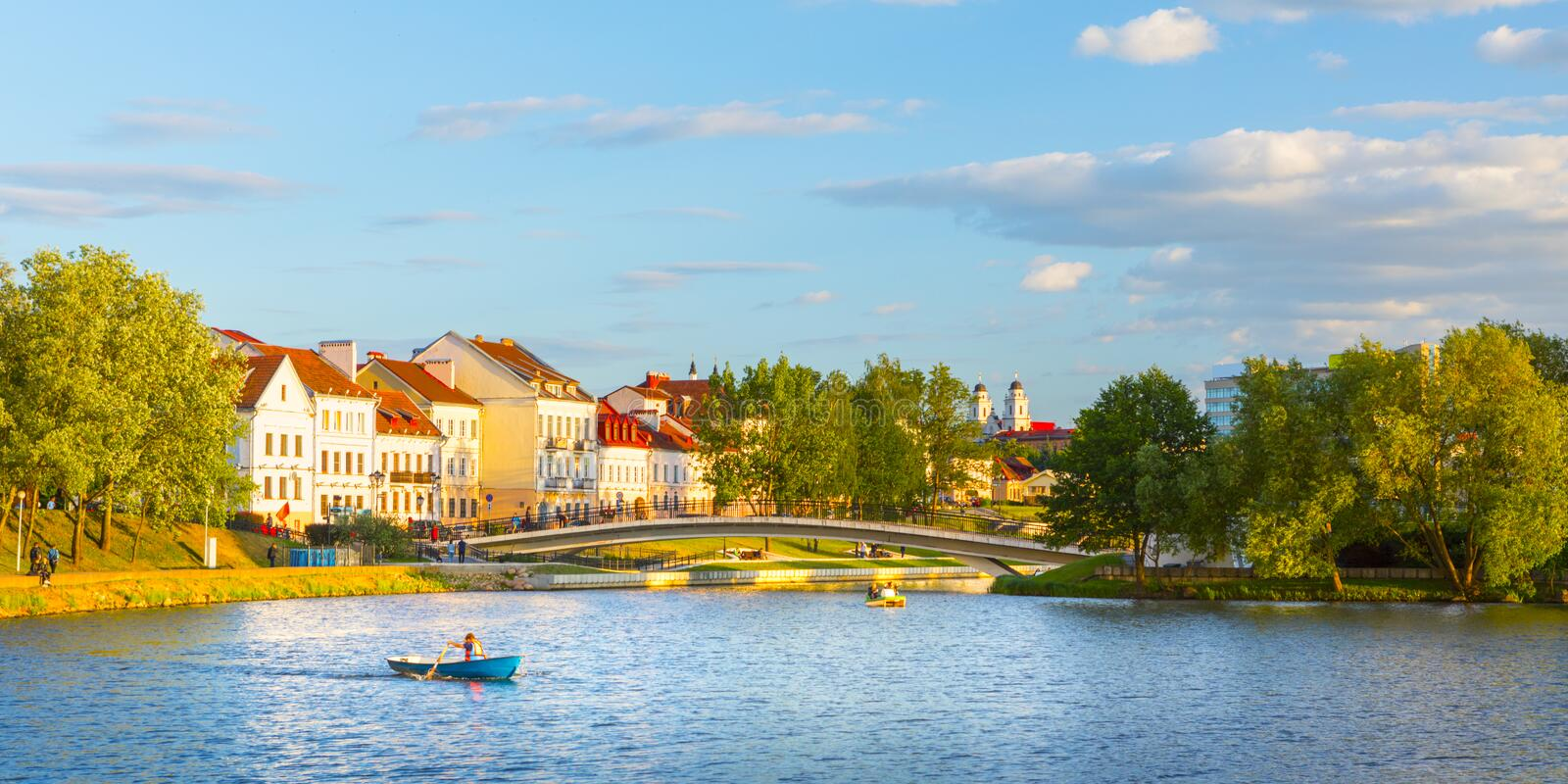 View of the city of Minsk at sunset. Nemiga. Belarus stock photography
