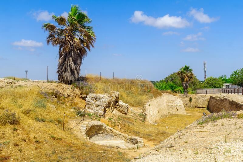 City moat crusader era, in Apollonia royalty free stock photos