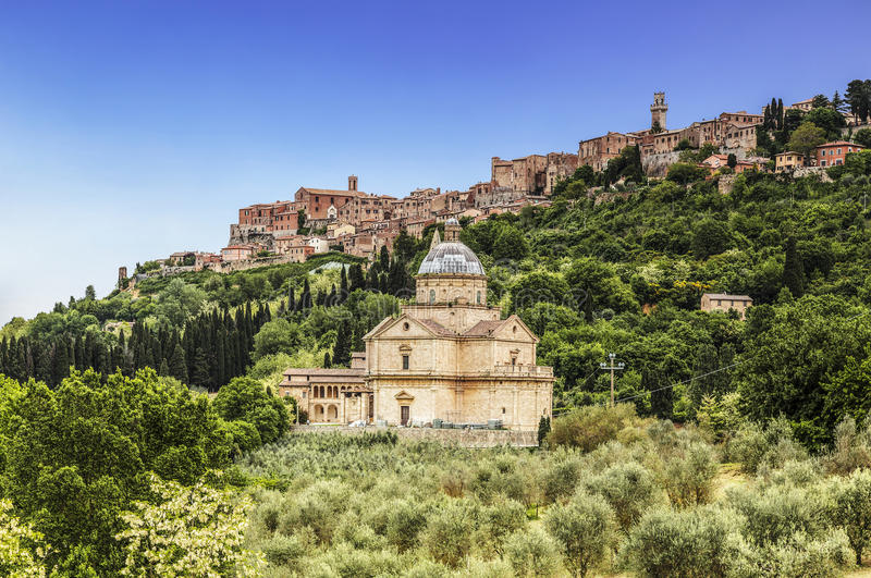 View of the city of Montepulciano and the church of Madonna di San Biagio, Tuscany. Italy royalty free stock image