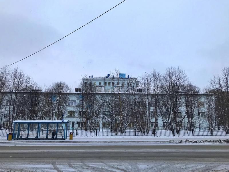 View of the city of Murmansk in winter time royalty free stock photography