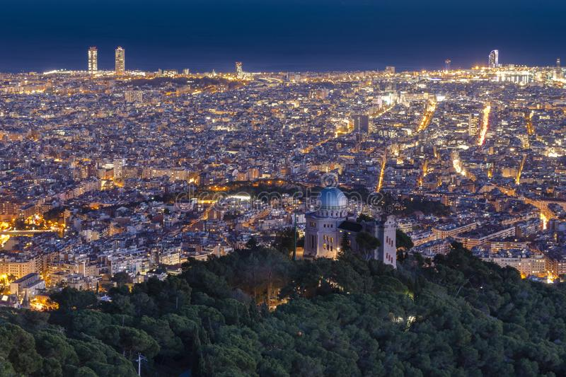 View of the city at night, Barcelona, Spain stock images