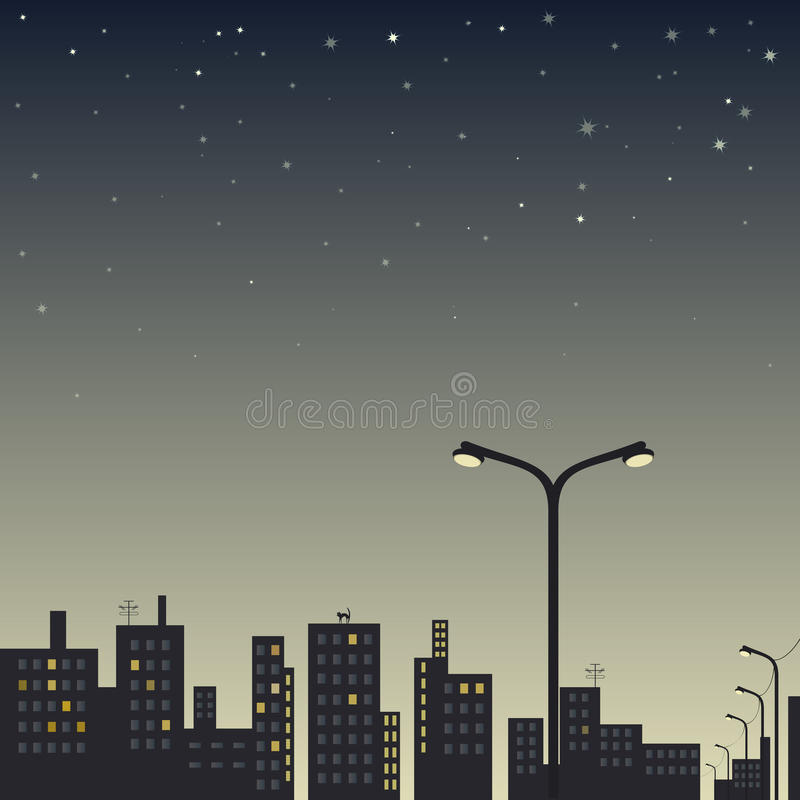 View of the city at night with street lamp in the foreground and stars. In the sky stock illustration