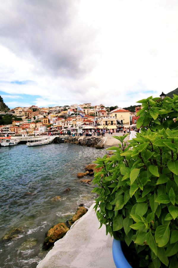View of the city of Parga stock images