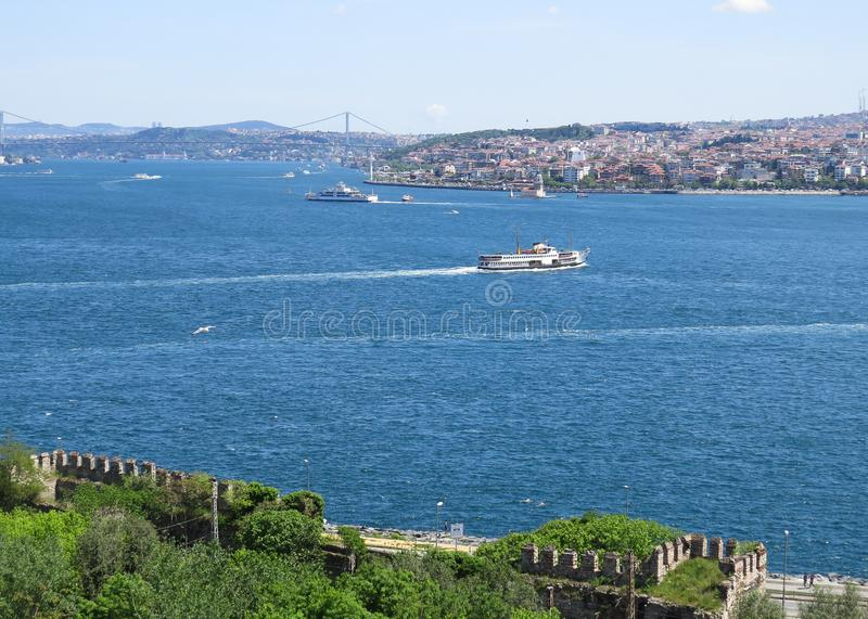 View from the city park Gulhane on the Bosphorus stock photography