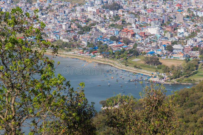 View of the city Pokhara royalty free stock photo