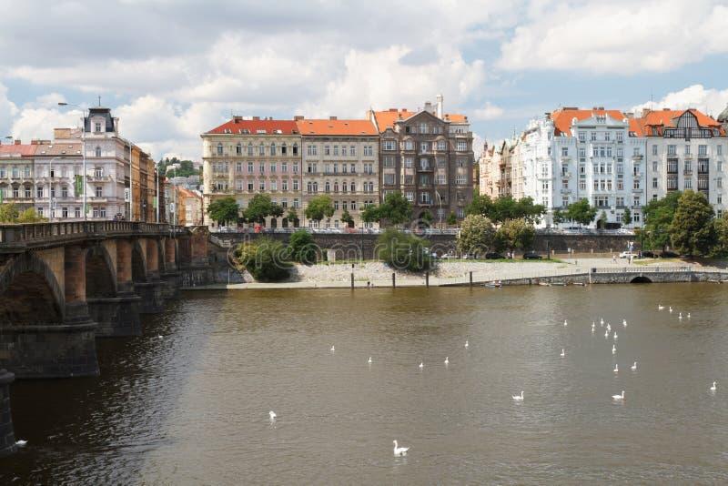 View of the city of Prague. Palacky Bridge and the Embankment. Prague, Czech Republic, August 1, 2016 stock images