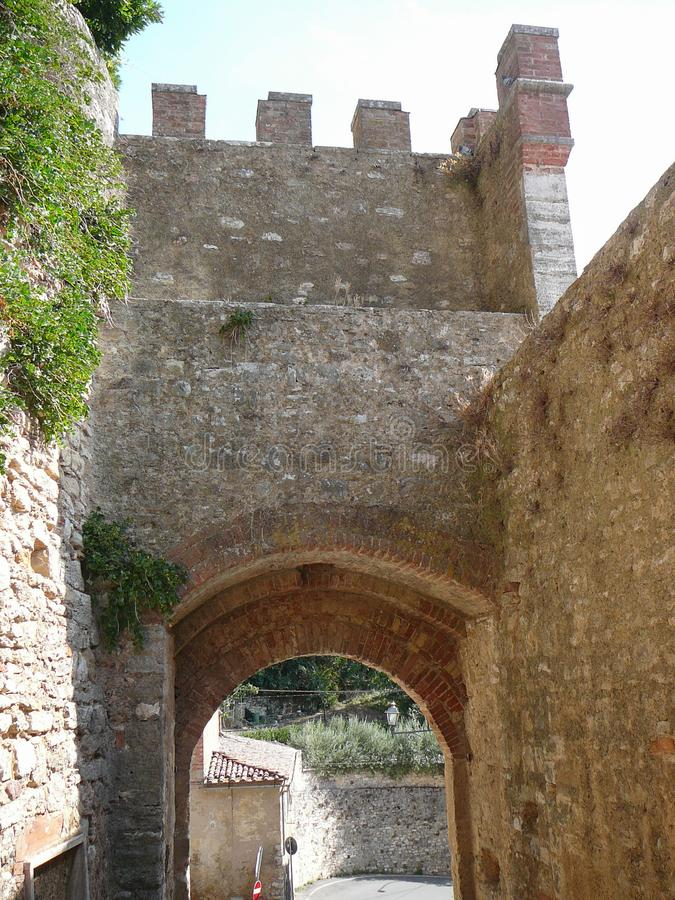 View of the city of Rapolano Terme stock image