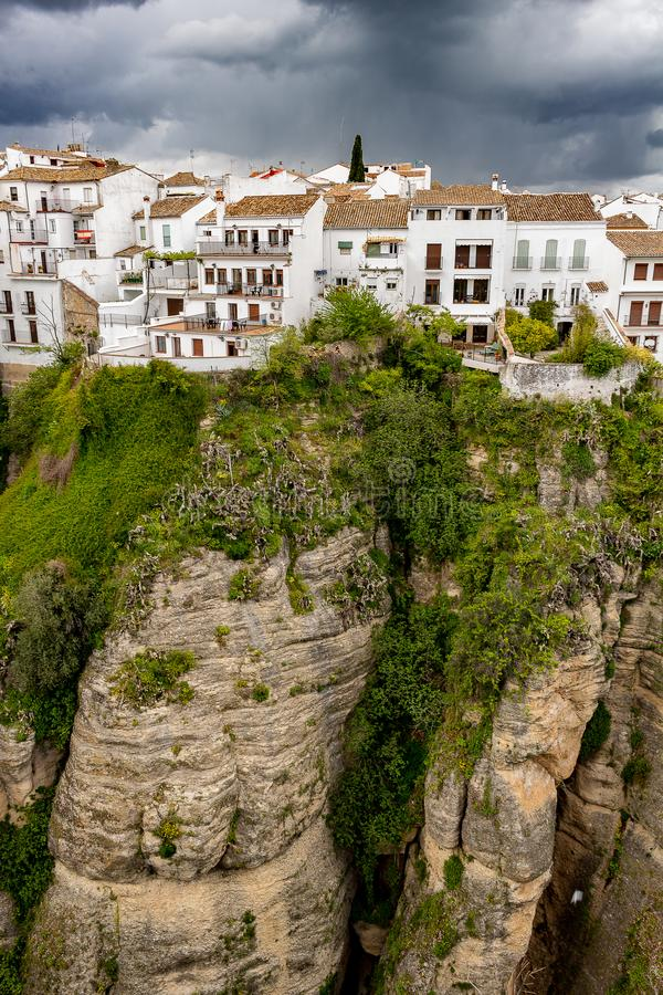 View of the city of Ronda contriuda on the cliffs. stock photography