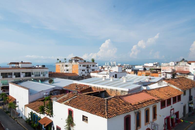 Cityscape in Centro Puerto Vallarta. View of the city from a rooftop in Centro Puerto Vallarta, Jalisco, Mexico stock photography