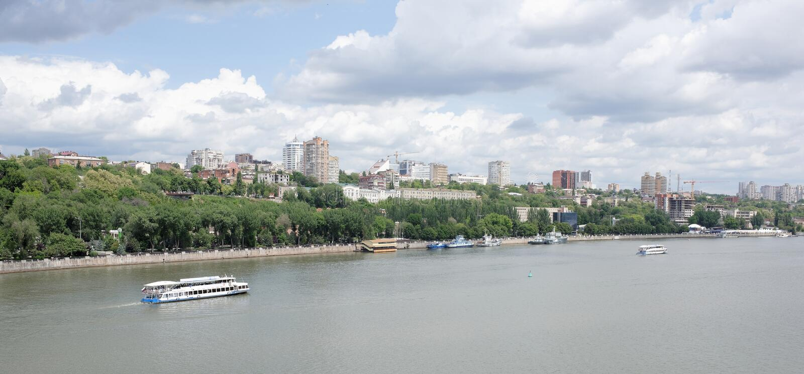 View of the city of Rostov-on-Don from the left bank of the Don royalty free stock photography
