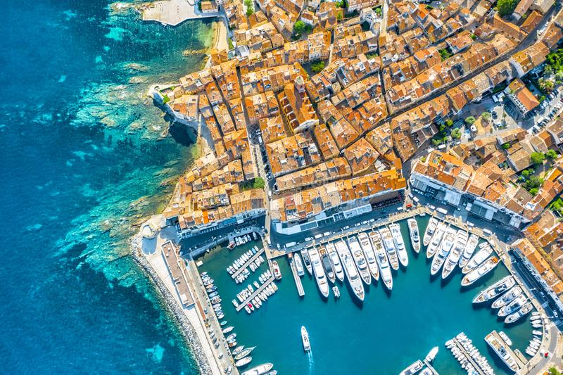 View of the city of Saint-Tropez, Provence, Cote d`Azur, a popular destination for travel in Europe. View of the city of Saint-Tropez, Provence, Cote d`Azur stock photo