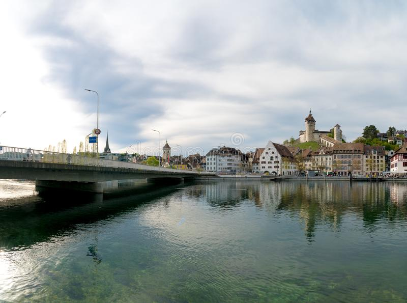 Schaffhausen, SH / Switzerland - 22 April 2019: view of the city of Schaffhausen with the bridge across the Rhine and city limits. View of the city of royalty free stock images