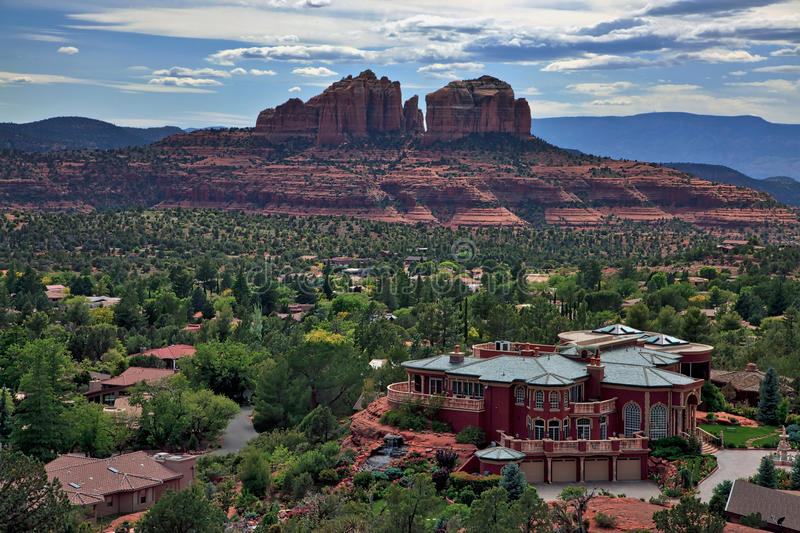 A view of the city of Sedona from the Chapel of the Holy Cross, Arizona, USA royalty free stock image