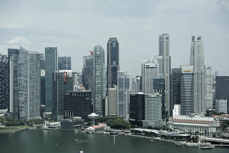 View of the city from Singapore Flyer stock image