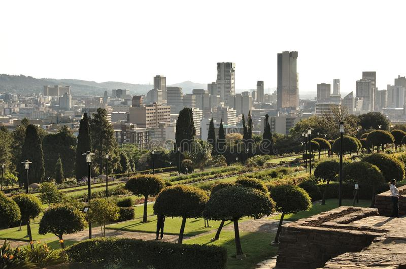 View of the city skyline from the grounds of the Union Buildings royalty free stock image