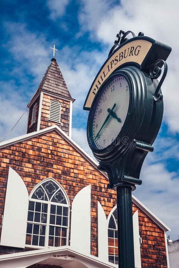 View on the city street clock with town name Philipsburg royalty free stock photography