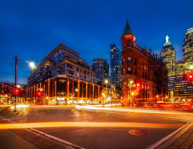 View of City Street at Night royalty free stock images