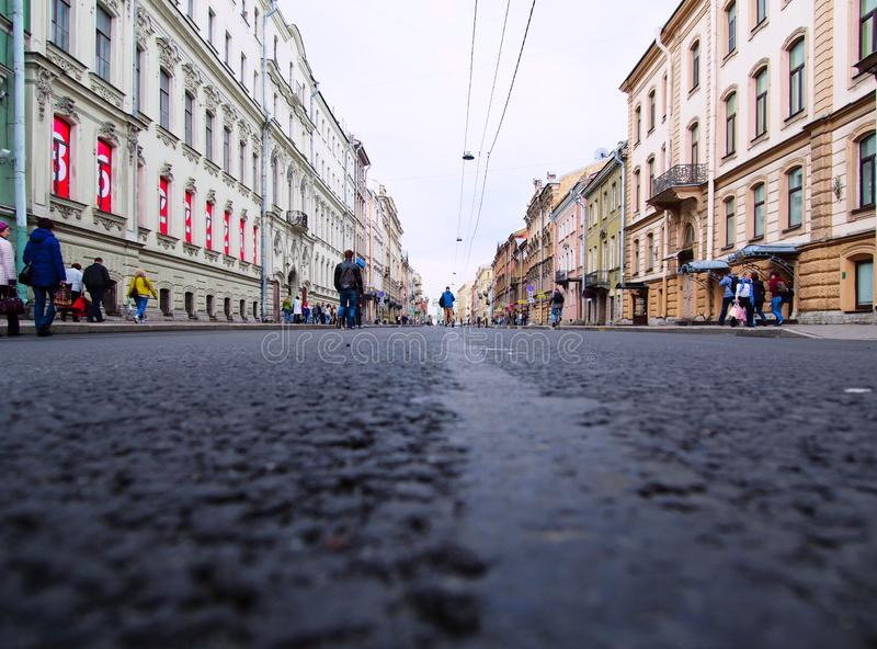 View of the city street from pavers royalty free stock images
