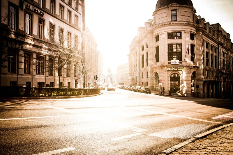 View of City Street at Sunset royalty free stock images