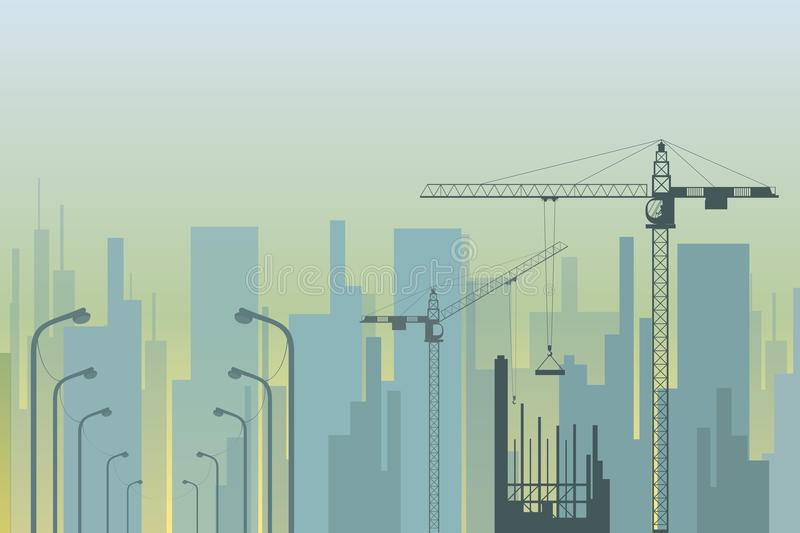 View of the city with tower cranes in the foreground royalty free illustration