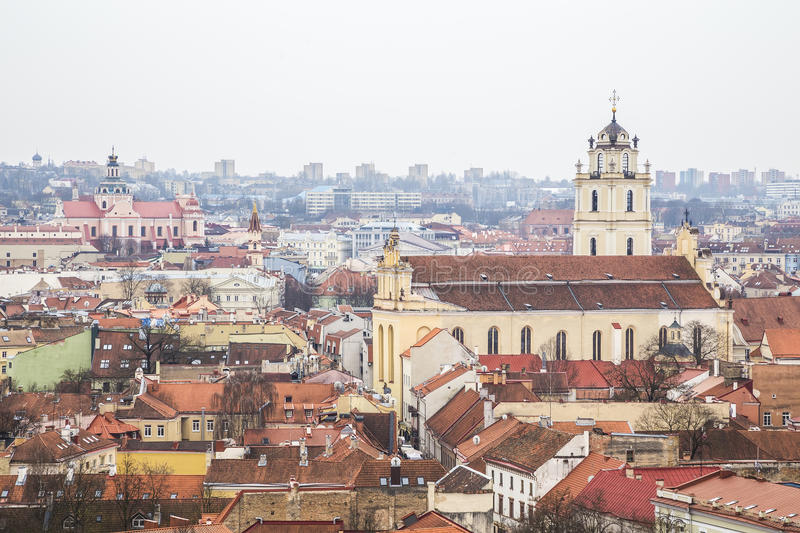 View of the city from Tower of Gediminas. View of the city from the observation deck at Tower of Gediminas on a cloudy day. Vilnius. Lithuania royalty free stock image