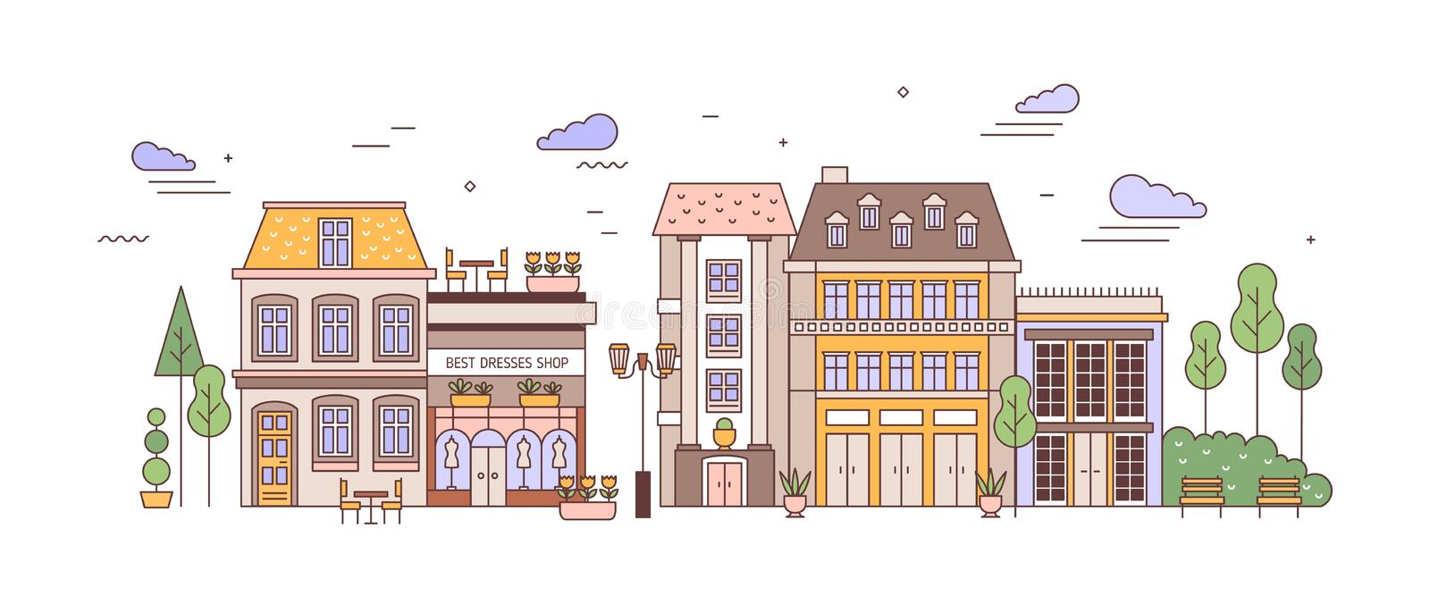View of city or town street with exquisite antique residential buildings of European architecture. Urban landscape or. Cityscape with living houses. Colorful stock illustration