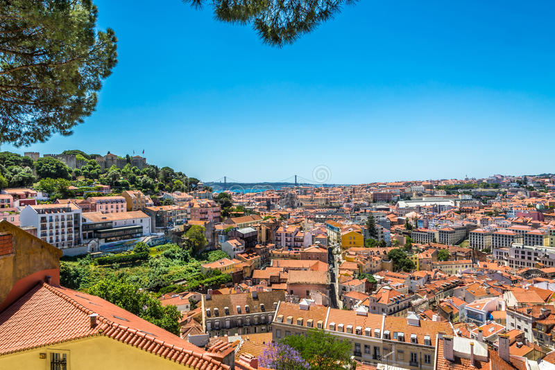 View at the city from viewpoint near church da Graca in Lisbon ,Portugal. View at the city from viewpoint near church da Graca in Lisbon - Portugal stock images