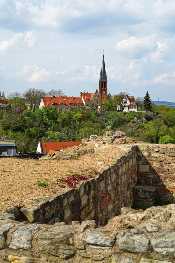 View from city wall over parts of Halle, Saxony. Germany. View from city wall over parts of Halle an der Saale, Saxony. Germany royalty free stock photo