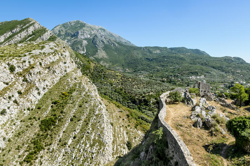 View of the city walls and the mountains in the old town of Bar. Montenegro royalty free stock image