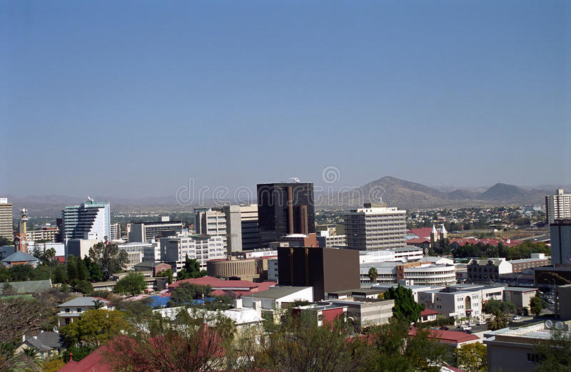 View of the city, Windhoek, Namibia. Windhoek, the capital city of Namibia has some German charm remembering the former German colonization of the country royalty free stock images