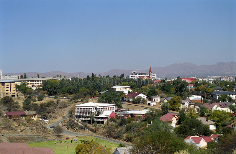View of the city, Windhoek, Namibia. Windhoek, the capital city of Namibia has some German charm remembering the former German colonization of the country royalty free stock image