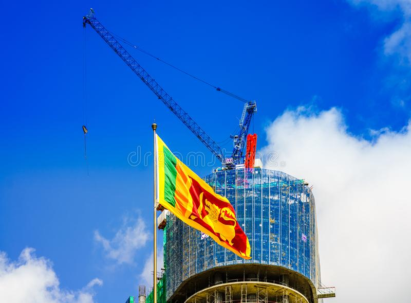 View on cityscape of Colombo with flag of Sri Lanka stock image