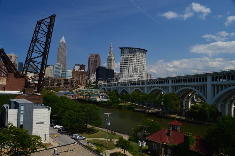 Cleveland Skyline and Detroit-Superior Bridge stock image