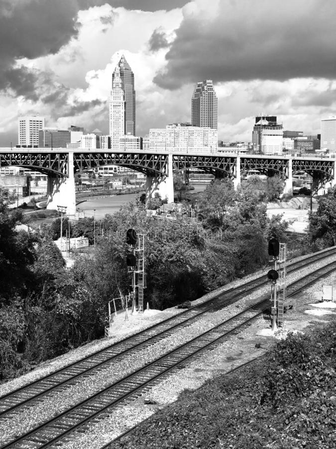 A view of Cleveland from Tremont in Black & White - railroad - OHIO - USA. The bustling downtown core is known for sports venues like the Q Arena, hosting royalty free stock images
