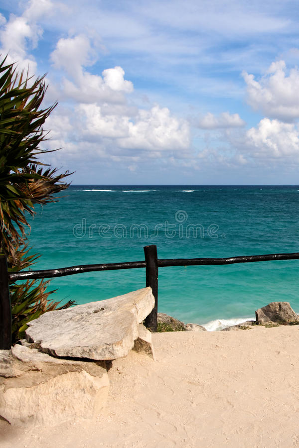 View from a Cliff over the Ocean at Tulum stock photography