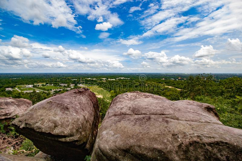 View from cliff stone of the mountain , prachinburi province. Bangkok stock image