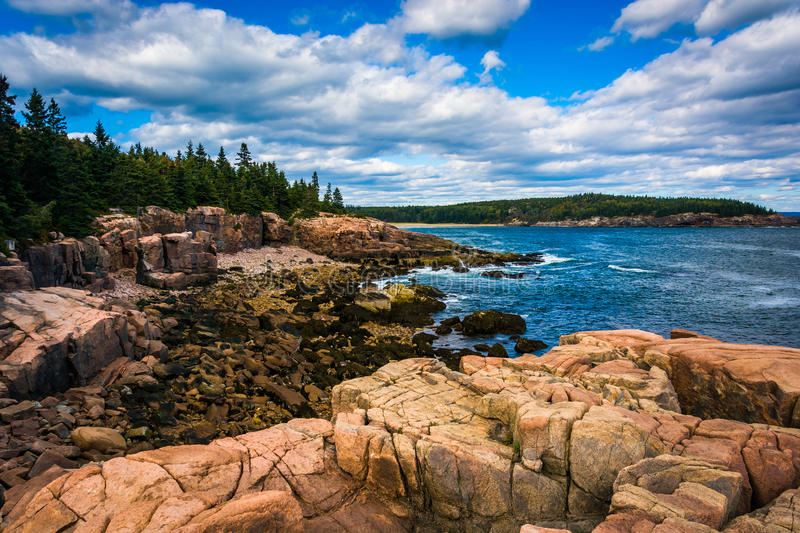 View of cliffs and the Atlantic Ocean in Acadia National Park, M stock photography