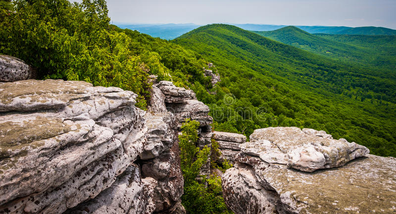 View from cliffs on Big Schloss, in George Washington National F royalty free stock photo