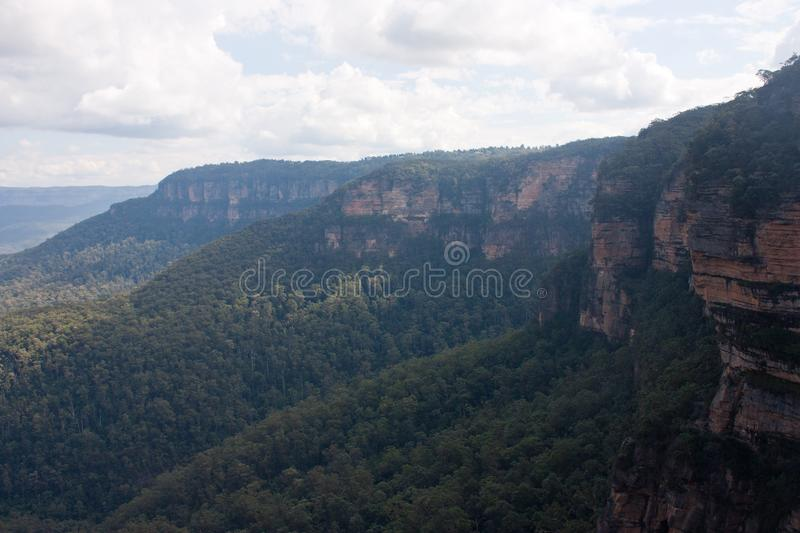 A view at the cliffs near the Wentworth Falls in the Blue Mountains in Australia. A view at the trees and the cliffs near the Wentworth Falls in the Blue stock photo