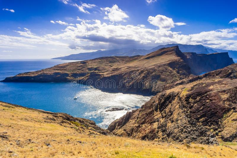 View of the cliffs at Ponta de Sao Lourenco, Madeira islands, Portugal royalty free stock photo