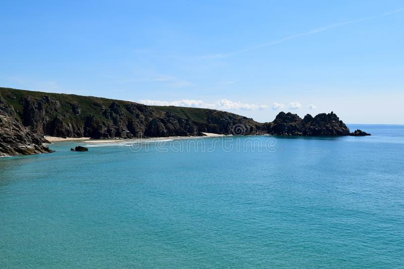 View from the cliffs at Porthcurno, Cornwall, England stock photo