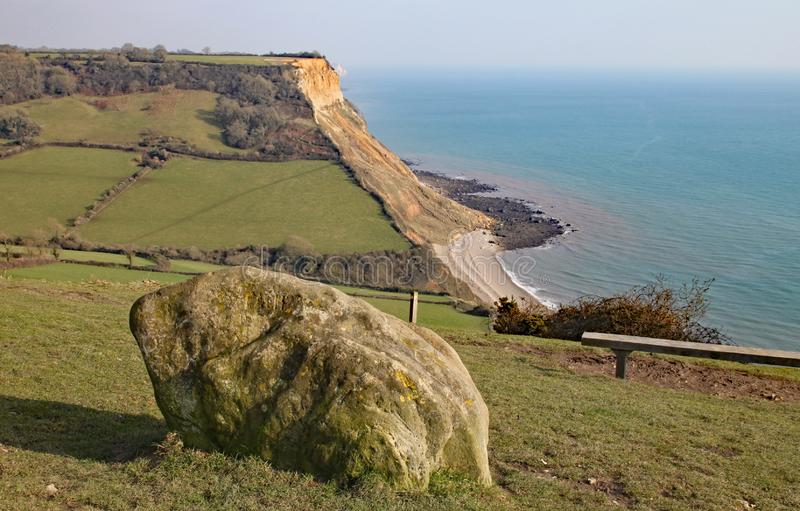 View of the cliffs at Salcombe Regis beach from the South West Coastal path on Salcombe Hill cliff above Sidmouth, East Devon.  stock image