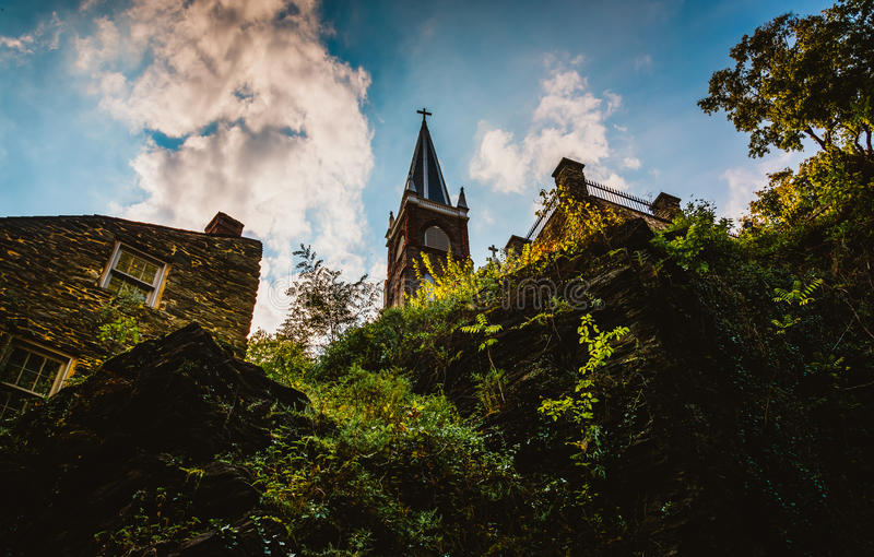 View of cliffs and St. Peter's Roman Catholic Church in Harper's stock image