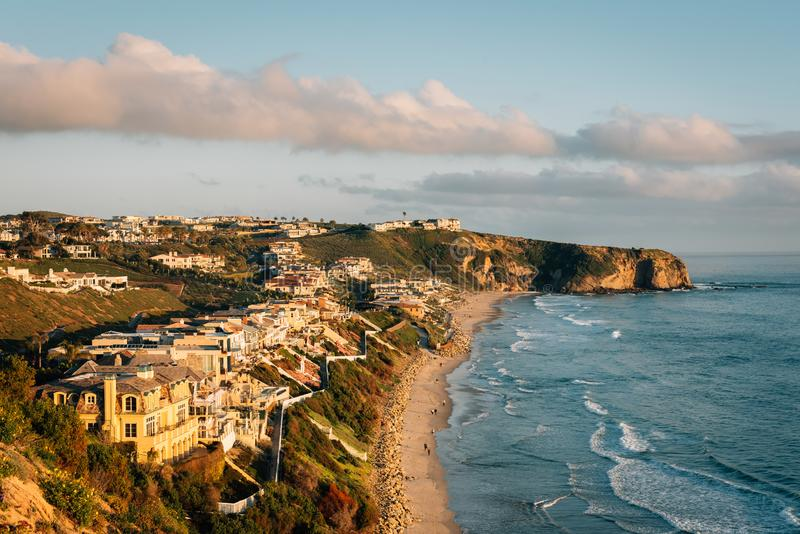 View of cliffs and Strand Beach, in Dana Point, Orange County, California royalty free stock image