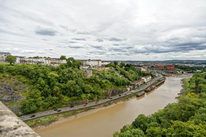 View from clifton suspension bridge towards bristol centre. royalty free stock photos