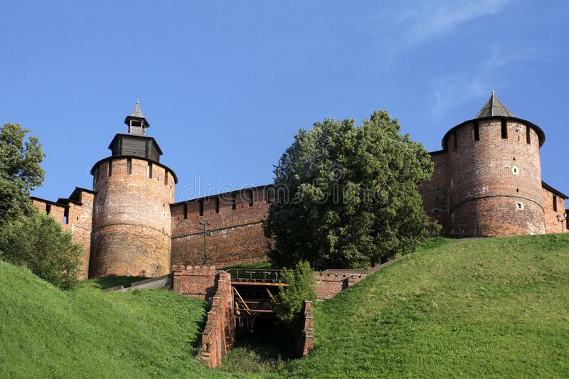 View of Clock tower and the Borisoglebsk tower of the Kremlin stock photo
