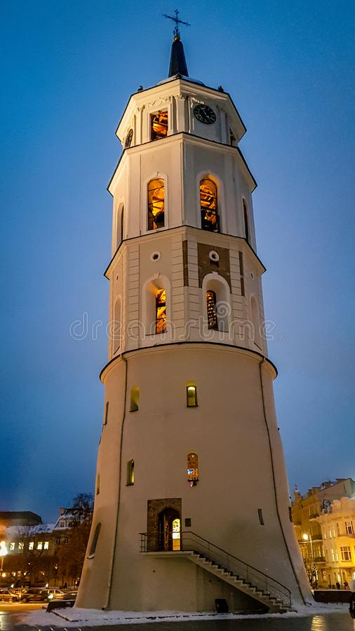 View of the Clock tower in Vilnius Lithuania stock photography