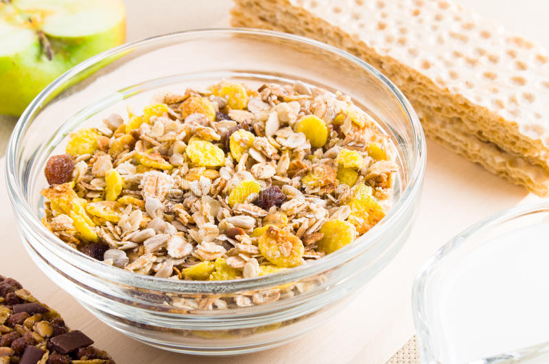 Download View Close-up On Muesli In Glass Bowl Stock Photo - Image: 83718715