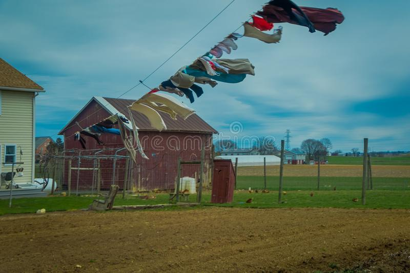 View of clothes of Amish Laundry, dry in the sun and air in Lancaster. Pennylvania stock photography