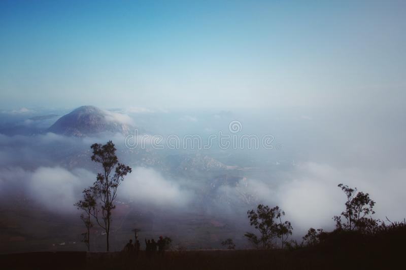 View of clouds and sky on mountain royalty free stock photo